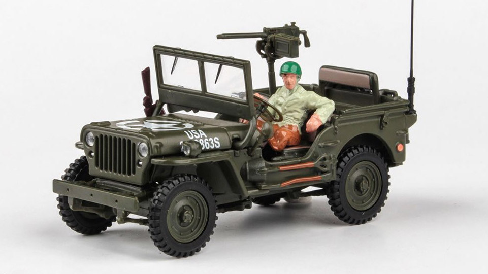 Jeep Willys CJ-5 1/4 ton US Army With Gun 1:43 - Cararama časopis s modelem