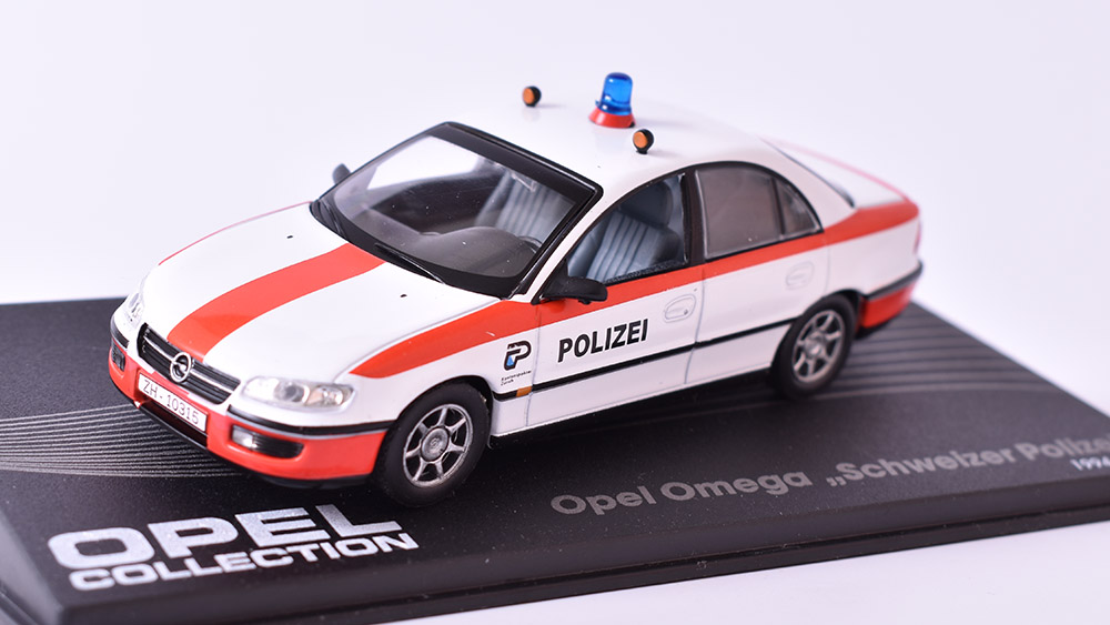Opel Omega Schweiser Polizei 1:43 Opel collection časopis s modelem